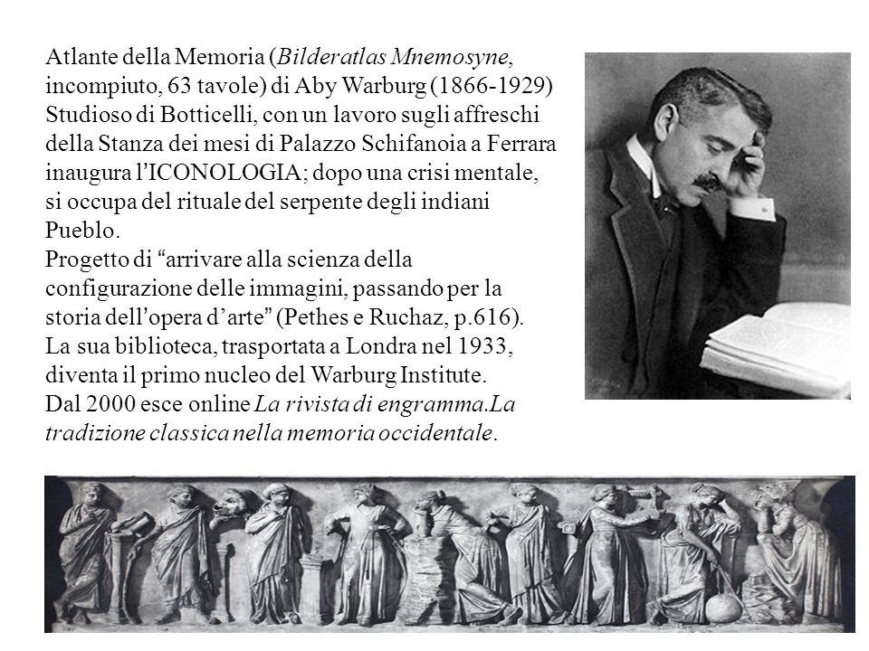 Atlante della Memoria (Bilderatlas Mnemosyne, incompiuto, 63 tavole) di Aby Warburg (1866-1929) Studioso di Botticelli, con un lavoro sugli affreschi