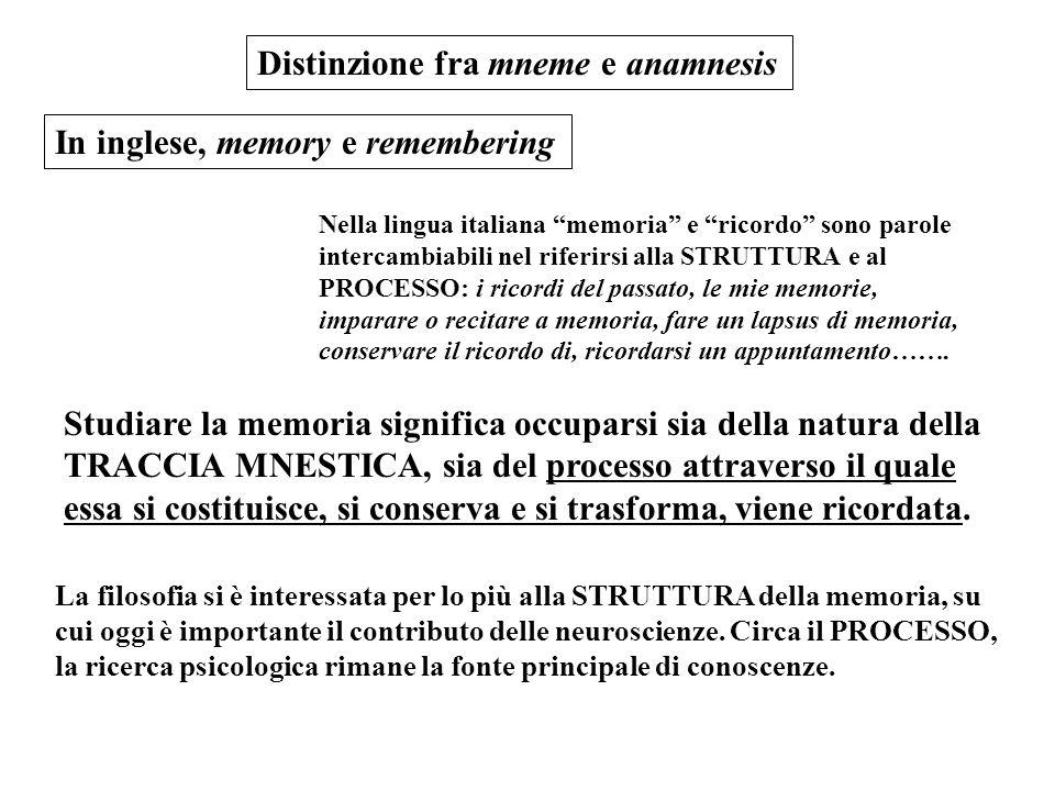 """Distinzione fra mneme e anamnesis In inglese, memory e remembering Nella lingua italiana """"memoria"""" e """"ricordo"""" sono parole intercambiabili nel riferir"""