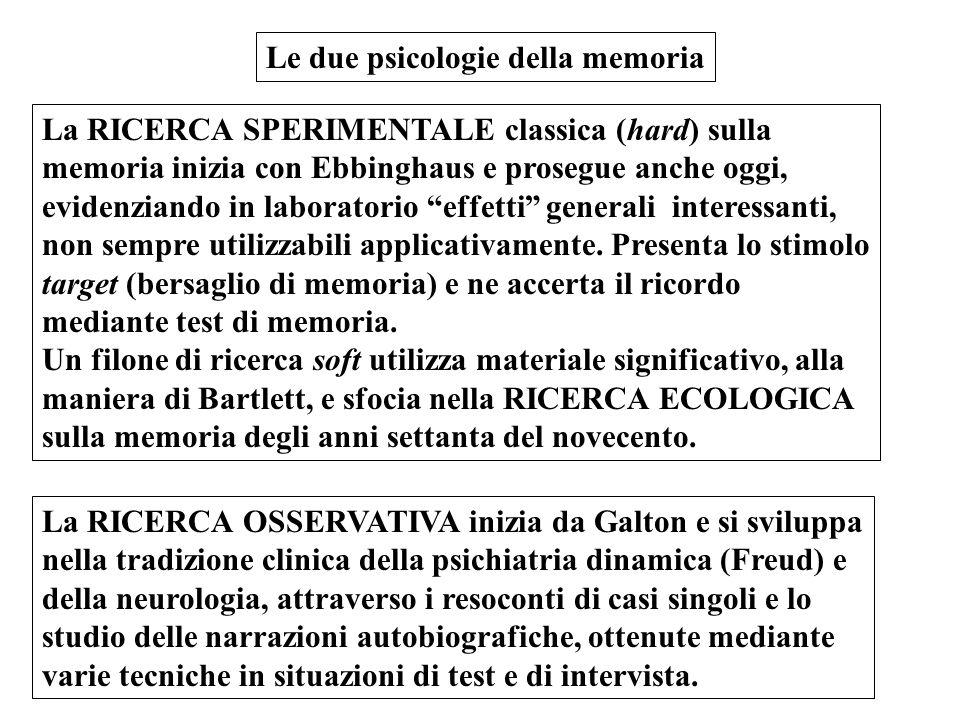 Le due psicologie della memoria La RICERCA SPERIMENTALE classica (hard) sulla memoria inizia con Ebbinghaus e prosegue anche oggi, evidenziando in lab