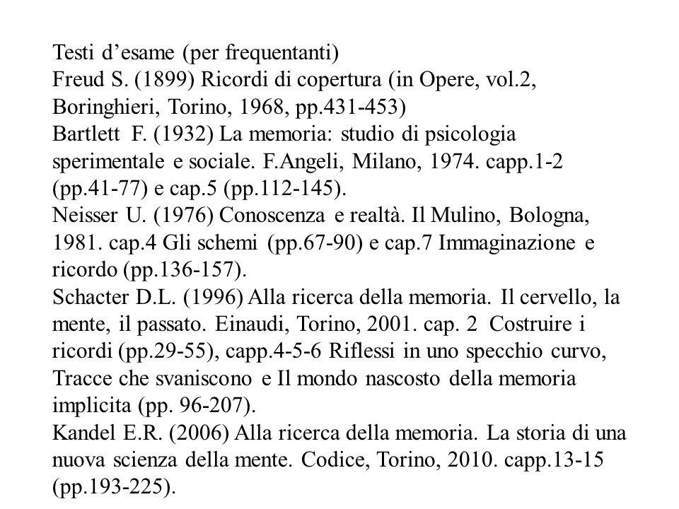 Testi d'esame (per frequentanti) Freud S. (1899) Ricordi di copertura (in Opere, vol.2, Boringhieri, Torino, 1968, pp.431-453) Bartlett F. (1932) La m