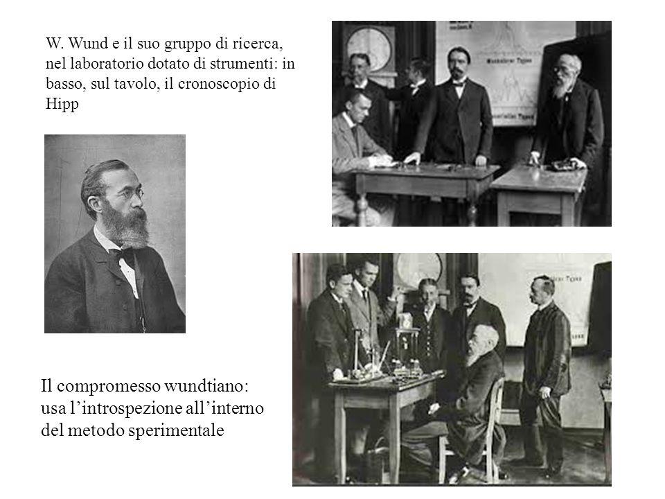 W. Wund e il suo gruppo di ricerca, nel laboratorio dotato di strumenti: in basso, sul tavolo, il cronoscopio di Hipp Il compromesso wundtiano: usa l'