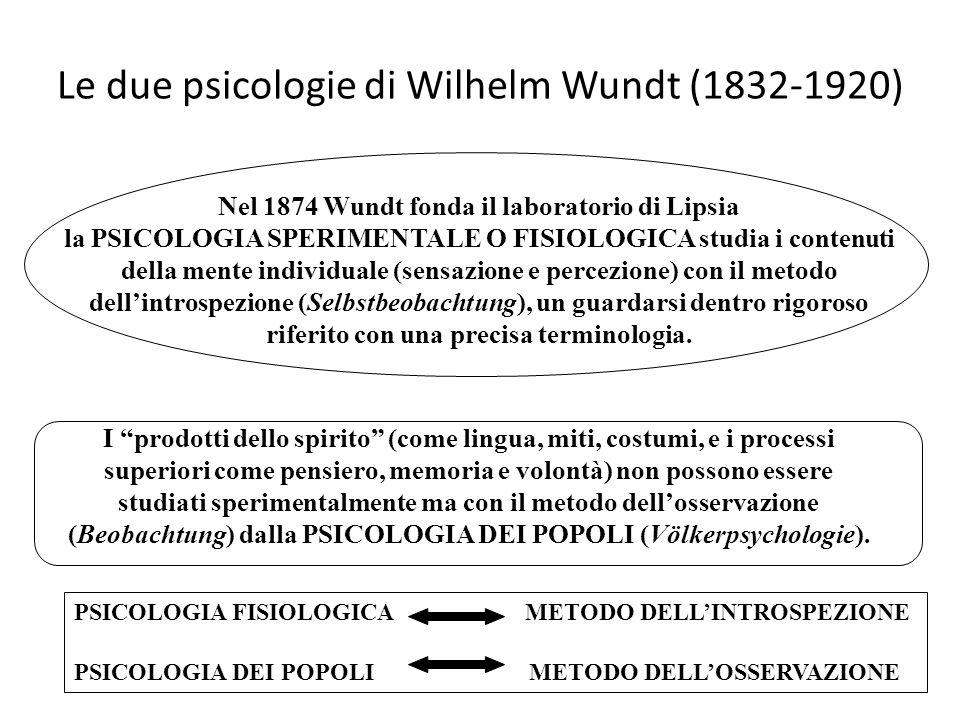 Le due psicologie di Wilhelm Wundt (1832-1920) Nel 1874 Wundt fonda il laboratorio di Lipsia la PSICOLOGIA SPERIMENTALE O FISIOLOGICA studia i contenu