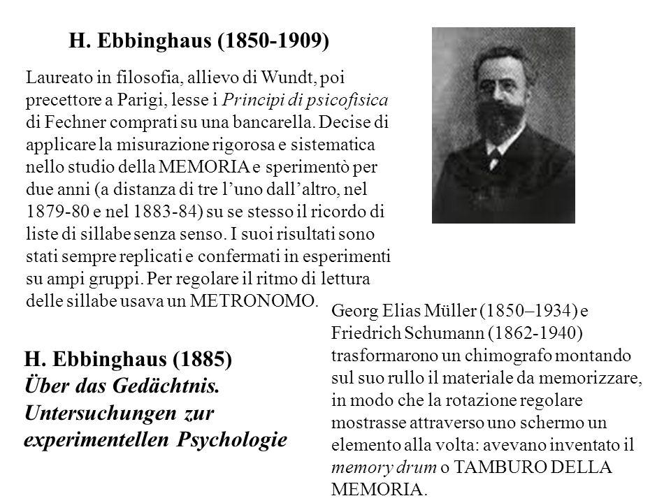 H. Ebbinghaus (1850-1909) Laureato in filosofia, allievo di Wundt, poi precettore a Parigi, lesse i Principi di psicofisica di Fechner comprati su una