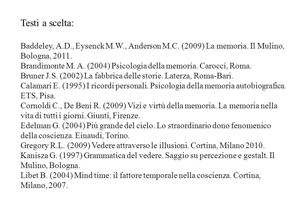 Testi a scelta: Baddeley, A.D., Eysenck M.W., Anderson M.C. (2009) La memoria. Il Mulino, Bologna, 2011. Brandimonte M. A. (2004) Psicologia della mem