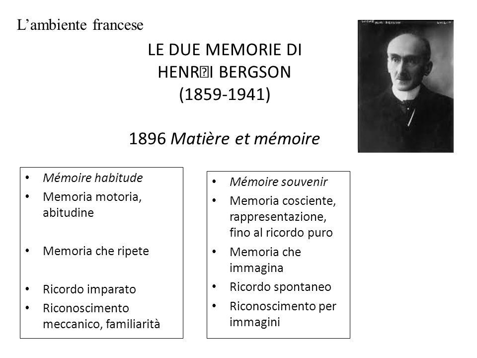 LE DUE MEMORIE DI HENRI BERGSON (1859-1941) 1896 Matière et mémoire Mémoire habitude Memoria motoria, abitudine Memoria che ripete Ricordo imparato Ri