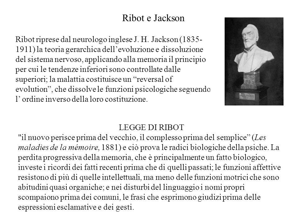Ribot e Jackson Ribot riprese dal neurologo inglese J. H. Jackson (1835- 1911) la teoria gerarchica dell'evoluzione e dissoluzione del sistema nervoso