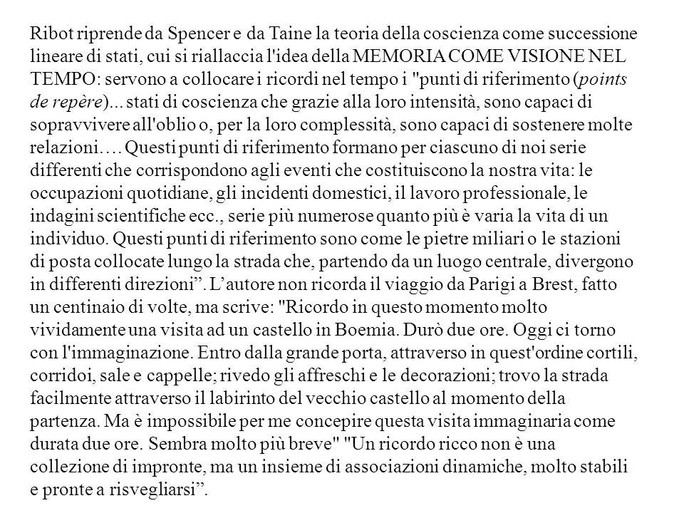 Ribot riprende da Spencer e da Taine la teoria della coscienza come successione lineare di stati, cui si riallaccia l'idea della MEMORIA COME VISIONE