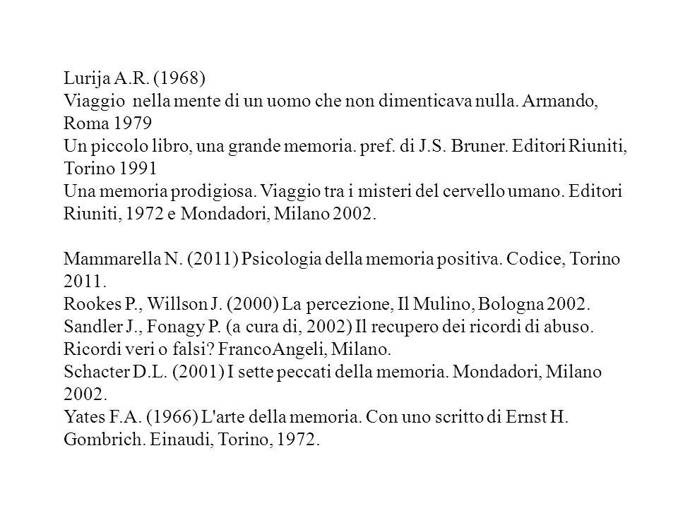 Lurija A.R. (1968) Viaggio nella mente di un uomo che non dimenticava nulla. Armando, Roma 1979 Un piccolo libro, una grande memoria. pref. di J.S. Br