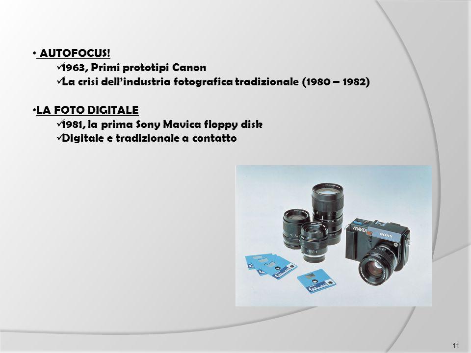 AUTOFOCUS! 1963, Primi prototipi Canon La crisi dell'industria fotografica tradizionale (1980 – 1982) LA FOTO DIGITALE 1981, la prima Sony Mavica flop