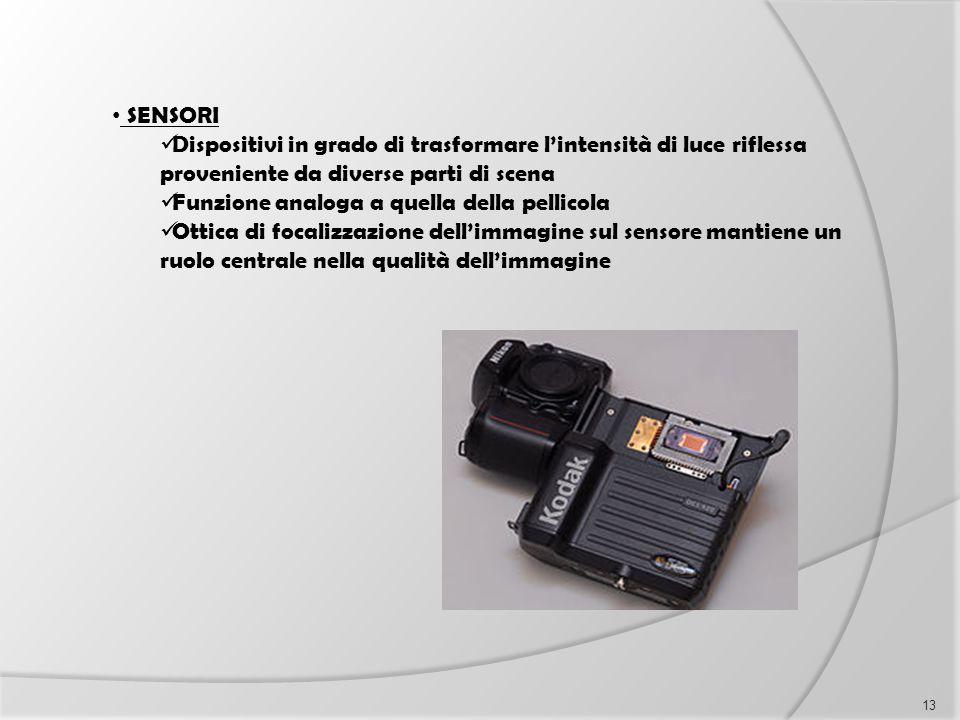 SENSORI Dispositivi in grado di trasformare l'intensità di luce riflessa proveniente da diverse parti di scena Funzione analoga a quella della pellico