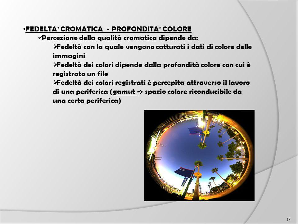 FEDELTA' CROMATICA - PROFONDITA' COLORE Percezione della qualità cromatica dipende da:  Fedeltà con la quale vengono catturati i dati di colore delle