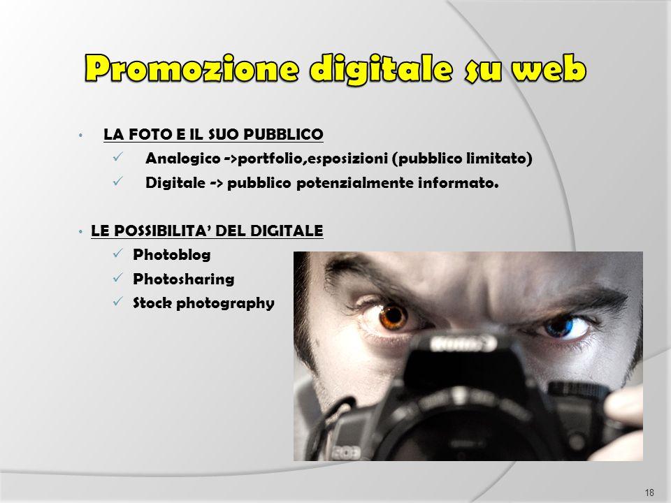 LA FOTO E IL SUO PUBBLICO Analogico ->portfolio,esposizioni (pubblico limitato) Digitale -> pubblico potenzialmente informato. LE POSSIBILITA' DEL DIG