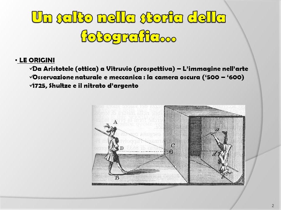 LE ORIGINI Da Aristotele (ottica) a Vitruvio (prospettiva) – L'immagine nell'arte Osservazione naturale e meccanica : la camera oscura ('500 – '600) 1