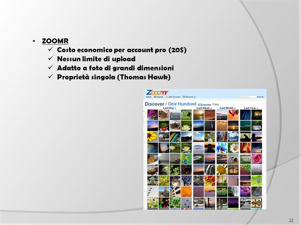 ZOOMR Costo economico per account pro (20$) Nessun limite di upload Adatto a foto di grandi dimensioni Proprietà singola (Thomas Hawk) 22
