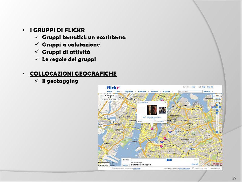 I GRUPPI DI FLICKR Gruppi tematici: un ecosistema Gruppi a valutazione Gruppi di attività Le regole dei gruppi COLLOCAZIONI GEOGRAFICHE Il geotagging
