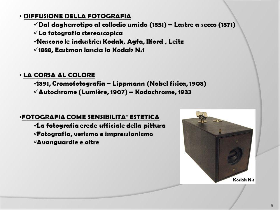 DIFFUSIONE DELLA FOTOGRAFIA Dal dagherrotipo al collodio umido (1851) – Lastre a secco (1871) La fotografia stereoscopica Nascono le industrie: Kodak,