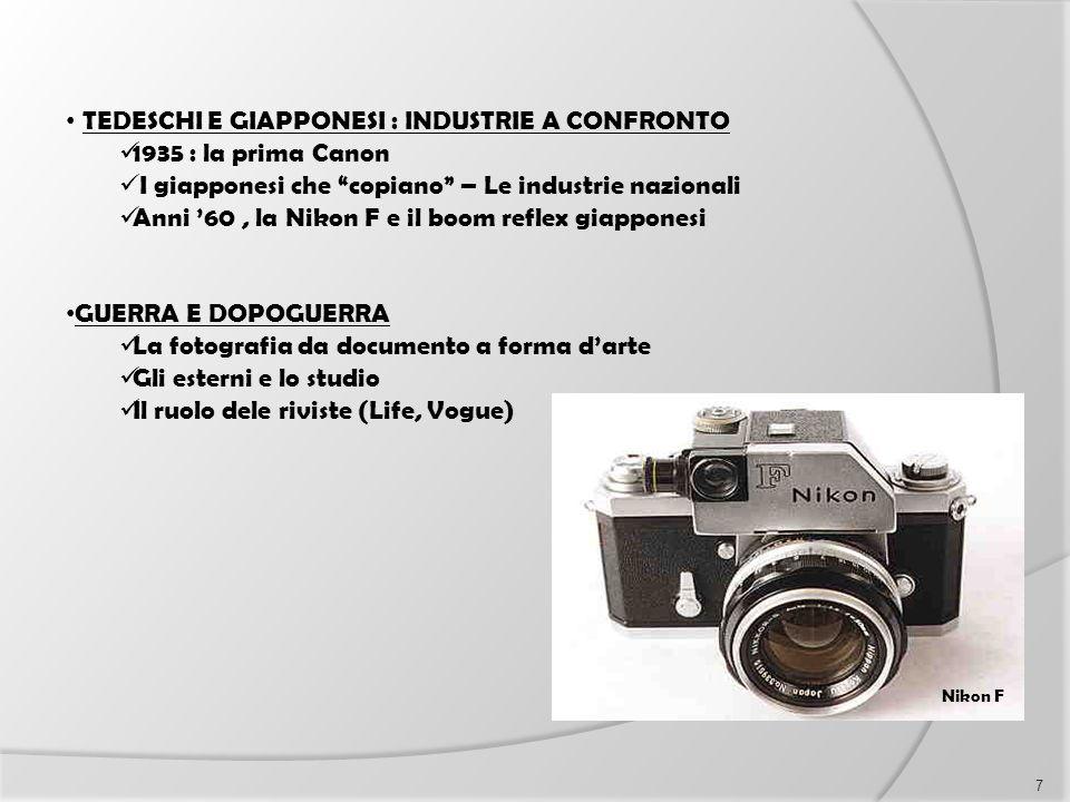 """TEDESCHI E GIAPPONESI : INDUSTRIE A CONFRONTO 1935 : la prima Canon I giapponesi che """"copiano"""" – Le industrie nazionali Anni '60, la Nikon F e il boom"""