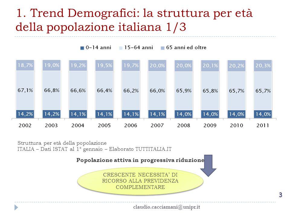2000201020202030204020502060 Speranza di vita (uomini)76,579,180,782,283,584,585,5 Speranza di vita (donne)82,584,686,187,588,689,590,3 Indice di dipendenza anziani* 29,1%33,4%38,8%47,3%60,6%66,4%64,8% Le principali previsioni demografiche * L'indice di dipendenza degli anziani è il rapporto tra la popolazione di età uguale o superiore ai 65 anni e la popolazione in età attiva (15-64 anni), moltiplicato per 100.