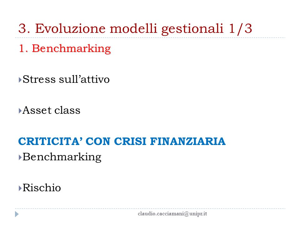 3.Evoluzione modelli gestionali 2/3 2. Modelli liability driven 1.