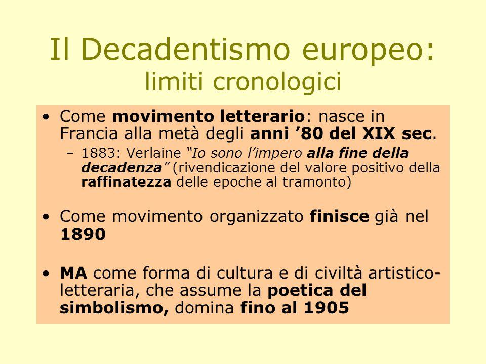 Il Decadentismo europeo: limiti cronologici Come movimento letterario: nasce in Francia alla metà degli anni '80 del XIX sec.