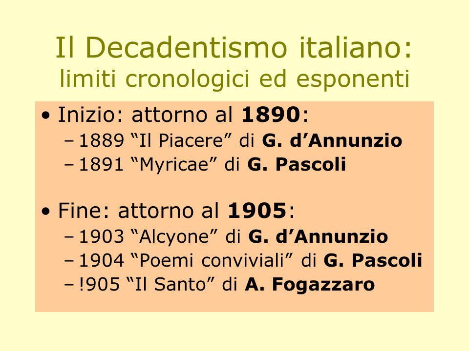 Il Decadentismo italiano: limiti cronologici ed esponenti Inizio: attorno al 1890: –1889 Il Piacere di G.