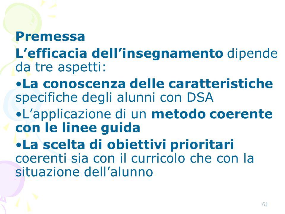 61 Premessa L'efficacia dell'insegnamento dipende da tre aspetti: La conoscenza delle caratteristiche specifiche degli alunni con DSA L'applicazione d