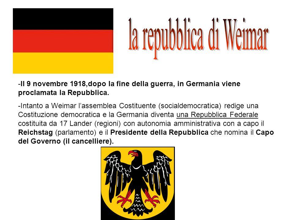 -Il 9 novembre 1918,dopo la fine della guerra, in Germania viene proclamata la Repubblica. -Intanto a Weimar l'assemblea Costituente (socialdemocratic