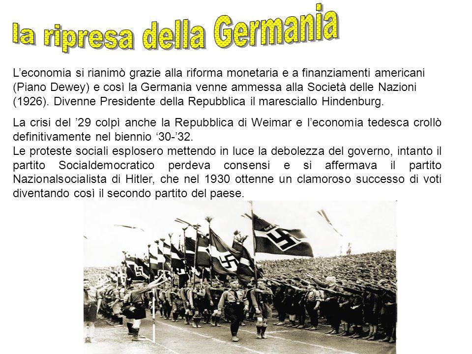 L'economia si rianimò grazie alla riforma monetaria e a finanziamenti americani (Piano Dewey) e così la Germania venne ammessa alla Società delle Nazi
