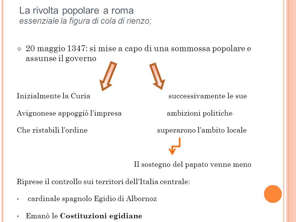 La rivolta popolare a roma essenziale la figura di cola di rienzo;  20 maggio 1347: si mise a capo di una sommossa popolare e assunse il governo Iniz