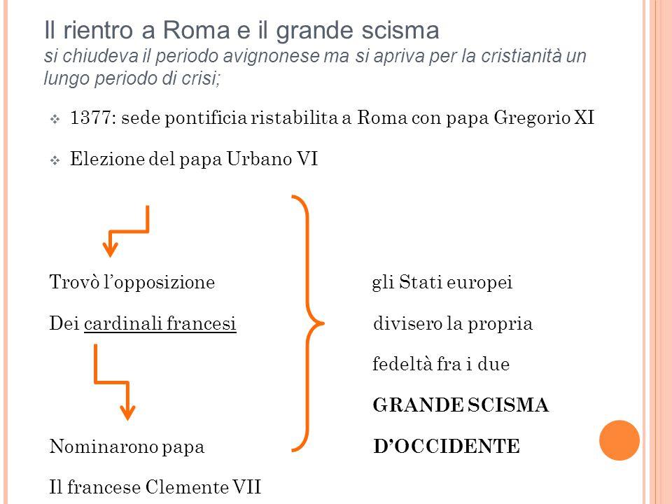 Il rientro a Roma e il grande scisma si chiudeva il periodo avignonese ma si apriva per la cristianità un lungo periodo di crisi;  1377: sede pontifi