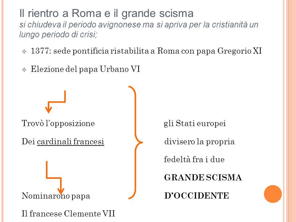 IL CONCILIARISMO Il contrasto fu risolto grazie al Concilio di Costanza Elezione di Martino V Segnò la temporanea supremazia del conciliarismo dottrina che affermava la superiorità del concilio sul papa