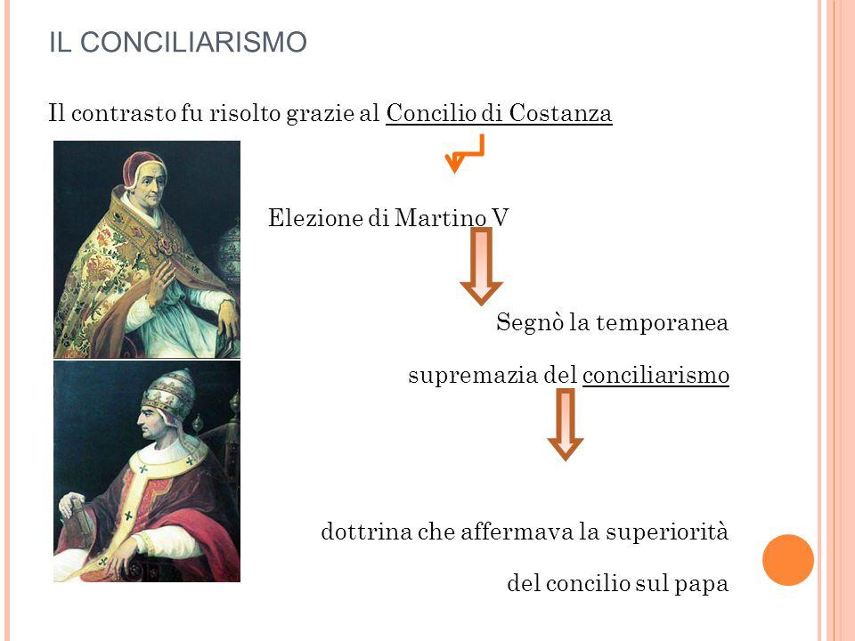 IL CONCILIARISMO Il contrasto fu risolto grazie al Concilio di Costanza Elezione di Martino V Segnò la temporanea supremazia del conciliarismo dottrin