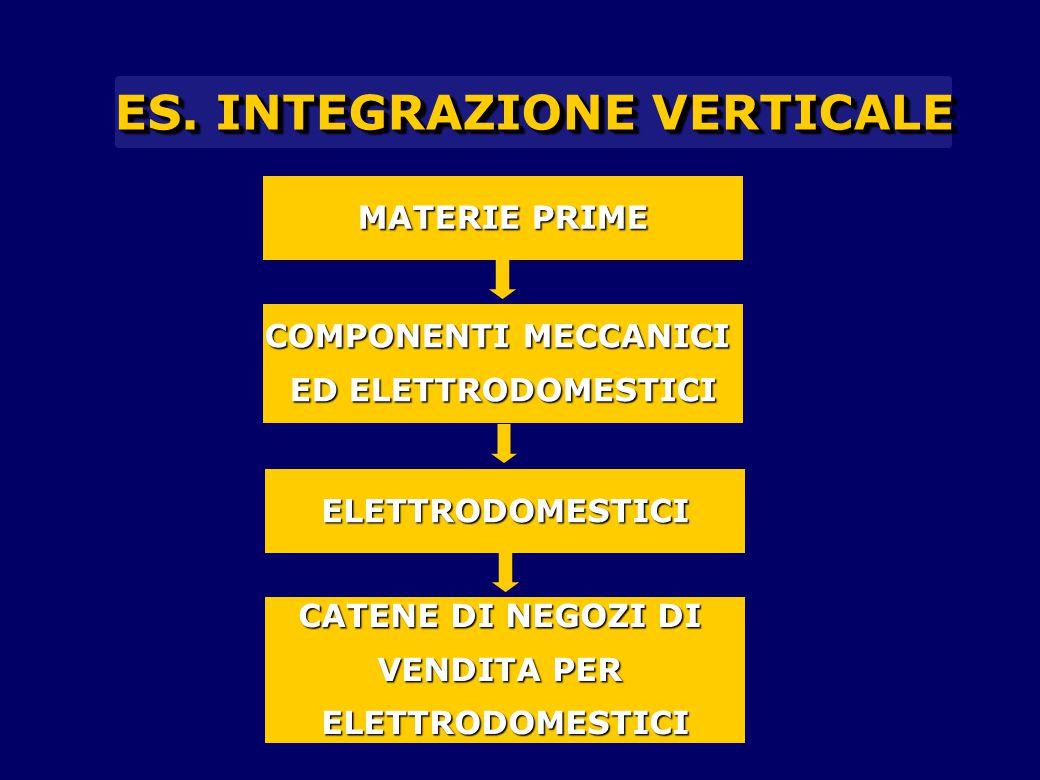 ES. INTEGRAZIONE VERTICALE COMPONENTI MECCANICI ED ELETTRODOMESTICI MATERIE PRIME CATENE DI NEGOZI DI VENDITA PER ELETTRODOMESTICI ELETTRODOMESTICI