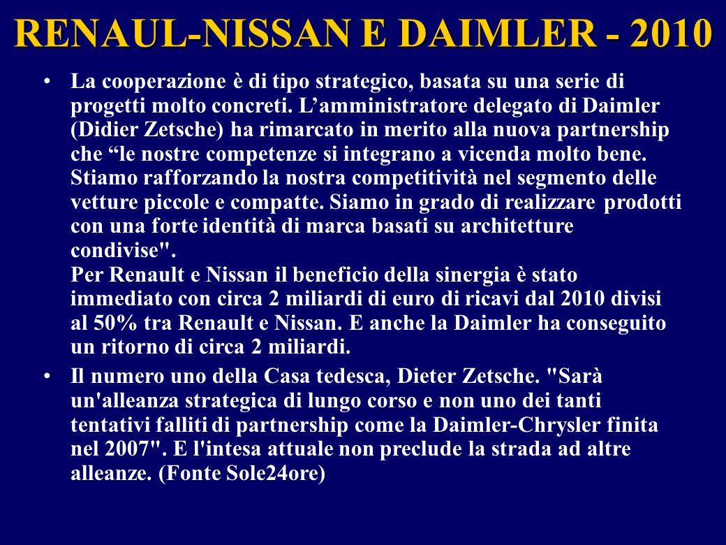 RENAUL-NISSAN E DAIMLER - 2010 Perché l'accordo tra le tre case.