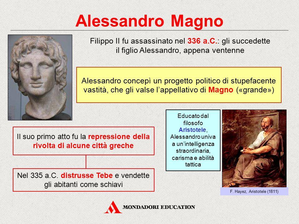 Alessandro Magno Nel 335 a.C. distrusse Tebe e vendette gli abitanti come schiavi Il suo primo atto fu la repressione della rivolta di alcune città gr