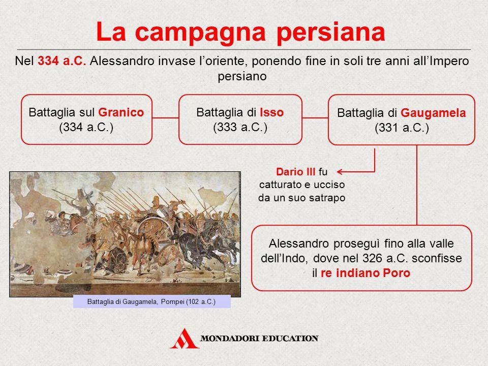 La campagna persiana Battaglia di Isso (333 a.C.) Nel 334 a.C. Alessandro invase l'oriente, ponendo fine in soli tre anni all'Impero persiano Alessand