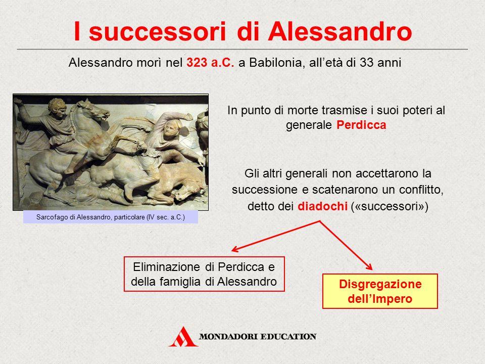 I successori di Alessandro Alessandro morì nel 323 a.C. a Babilonia, all'età di 33 anni In punto di morte trasmise i suoi poteri al generale Perdicca