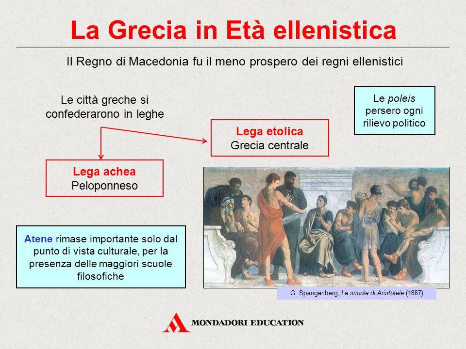 La Grecia in Età ellenistica Le città greche si confederarono in leghe Lega achea Peloponneso Il Regno di Macedonia fu il meno prospero dei regni elle