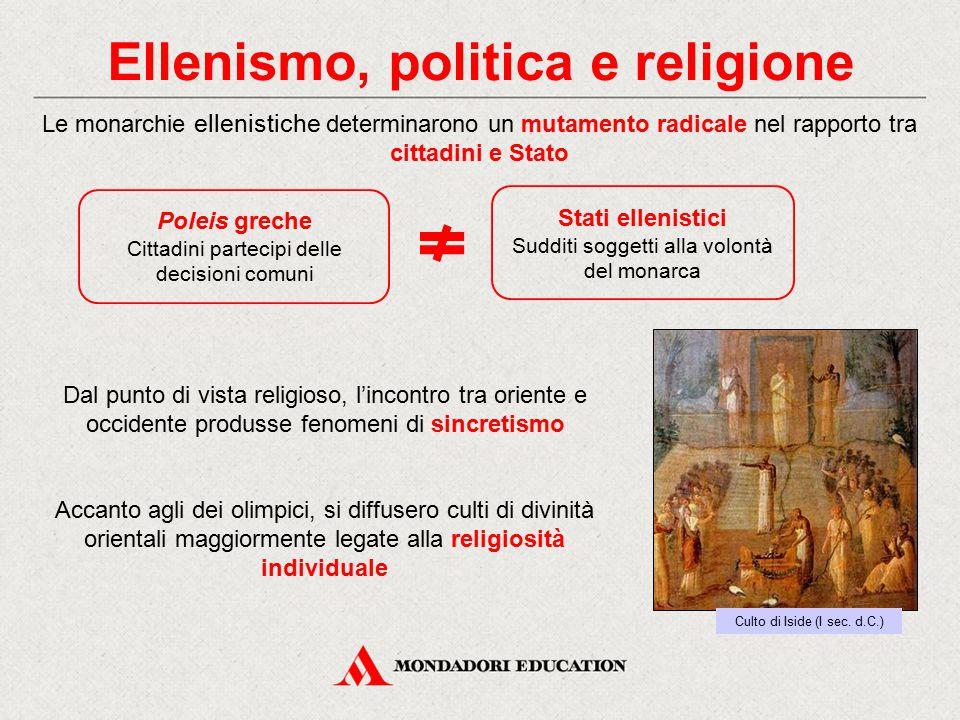 Ellenismo, politica e religione Dal punto di vista religioso, l'incontro tra oriente e occidente produsse fenomeni di sincretismo Le monarchie ellenis