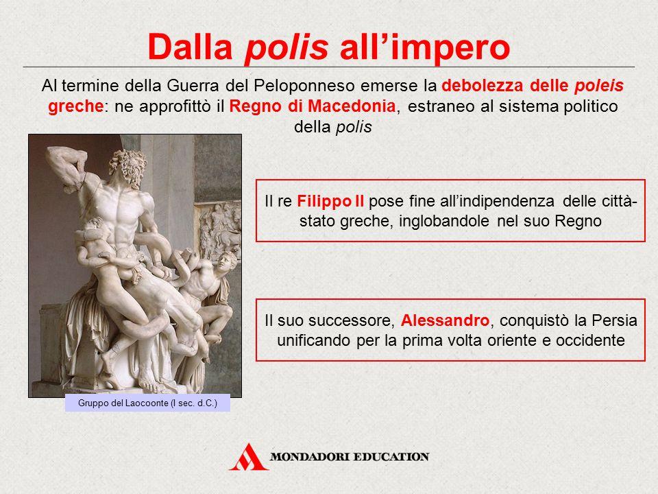 Dalla polis all'impero Al termine della Guerra del Peloponneso emerse la debolezza delle poleis greche: ne approfittò il Regno di Macedonia, estraneo