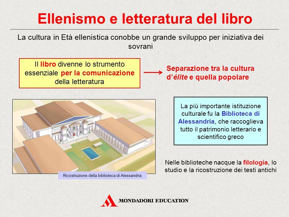 Ellenismo e letteratura del libro La cultura in Età ellenistica conobbe un grande sviluppo per iniziativa dei sovrani La più importante istituzione cu