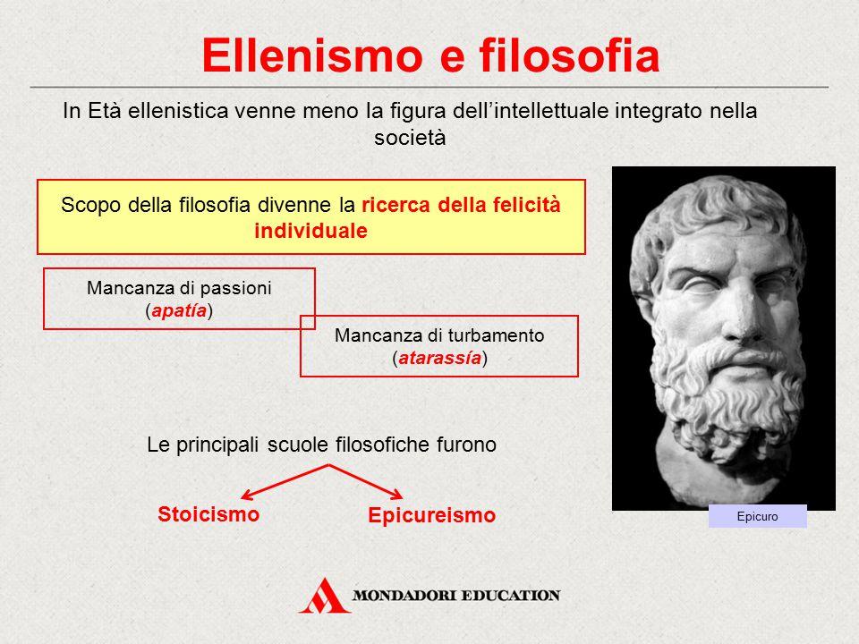 Ellenismo e filosofia Le principali scuole filosofiche furono Mancanza di turbamento (atarassía) In Età ellenistica venne meno la figura dell'intellet