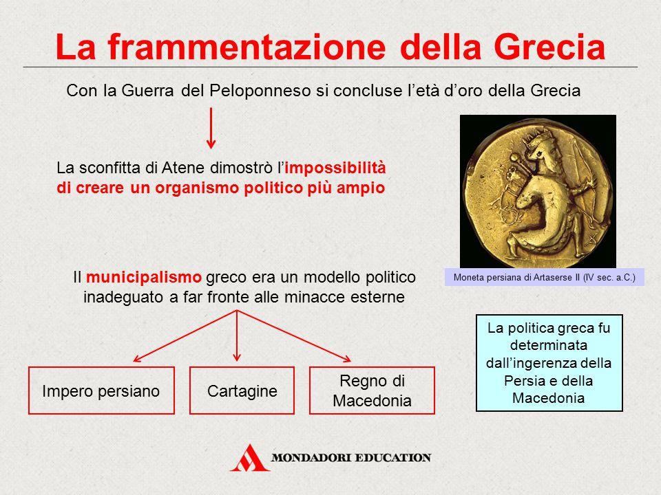 La frammentazione della Grecia Impero persiano Il municipalismo greco era un modello politico inadeguato a far fronte alle minacce esterne Con la Guer