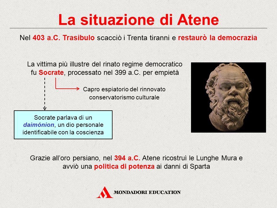 La situazione di Atene Nel 403 a.C. Trasibulo scacciò i Trenta tiranni e restaurò la democrazia La vittima più illustre del rinato regime democratico