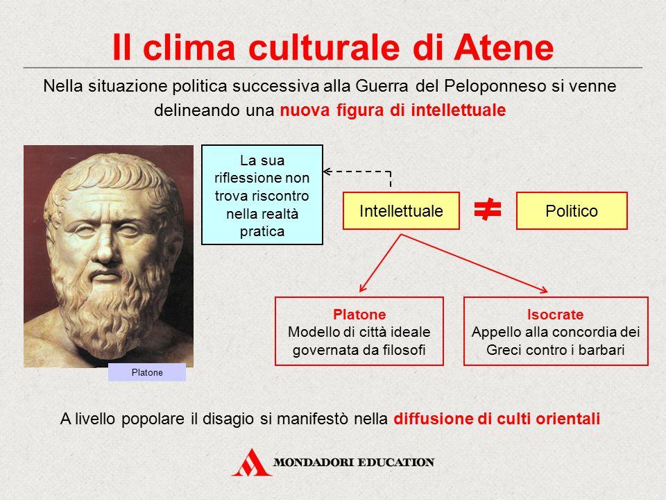 Il clima culturale di Atene Politico Nella situazione politica successiva alla Guerra del Peloponneso si venne delineando una nuova figura di intellet