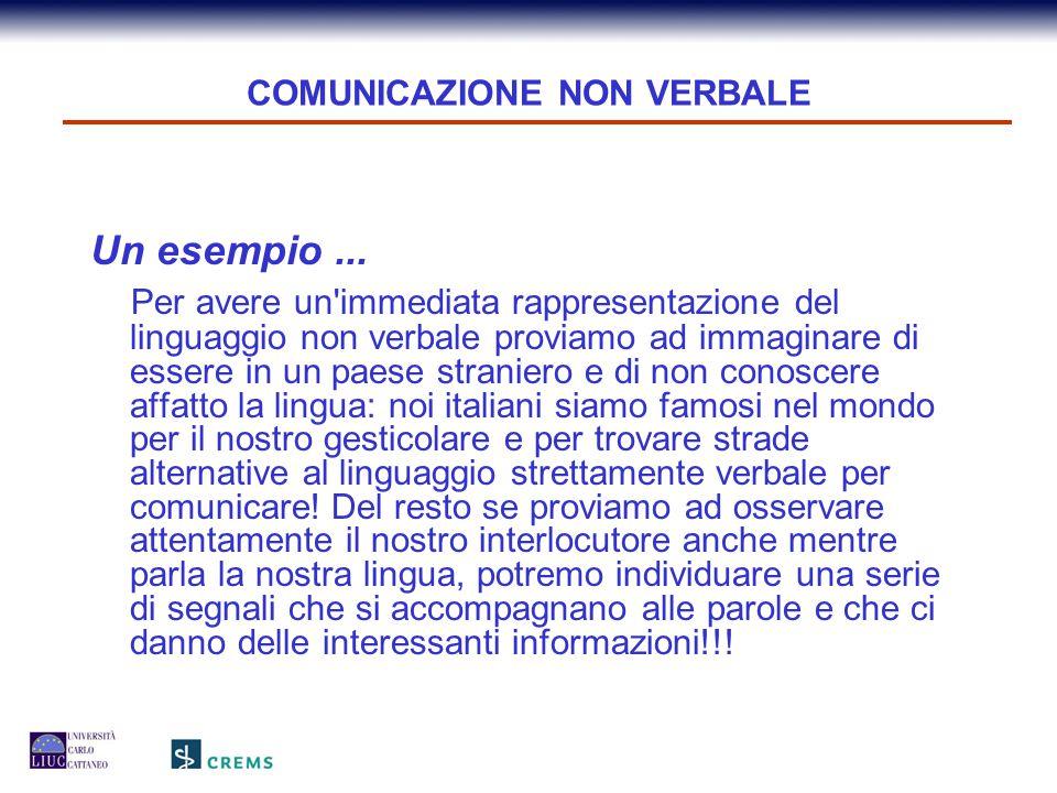 COMUNICAZIONE NON VERBALE Un esempio... Per avere un'immediata rappresentazione del linguaggio non verbale proviamo ad immaginare di essere in un paes
