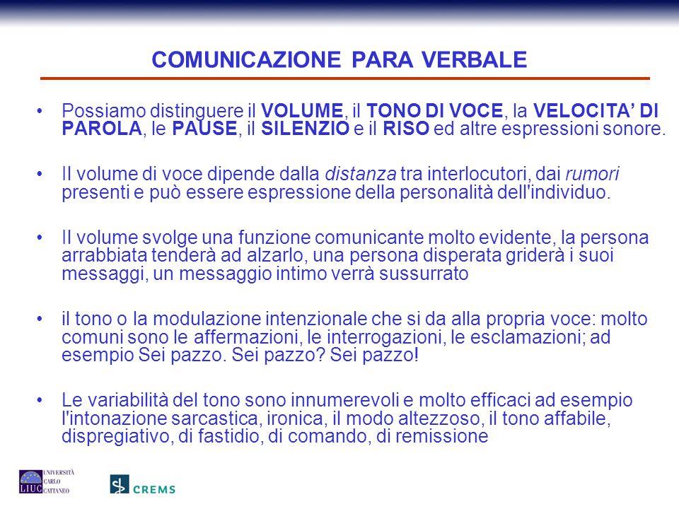 COMUNICAZIONE PARA VERBALE Possiamo distinguere il VOLUME, il TONO DI VOCE, la VELOCITA' DI PAROLA, le PAUSE, il SILENZIO e il RISO ed altre espressio