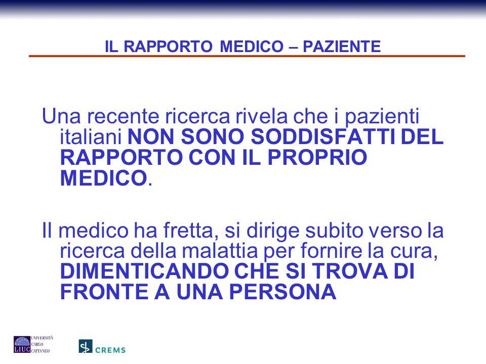 IL RAPPORTO MEDICO – PAZIENTE Una recente ricerca rivela che i pazienti italiani NON SONO SODDISFATTI DEL RAPPORTO CON IL PROPRIO MEDICO. Il medico ha