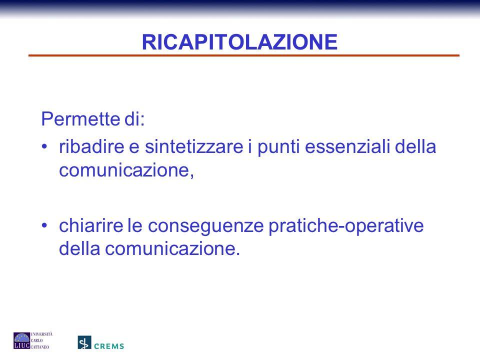 RICAPITOLAZIONE Permette di: ribadire e sintetizzare i punti essenziali della comunicazione, chiarire le conseguenze pratiche-operative della comunica