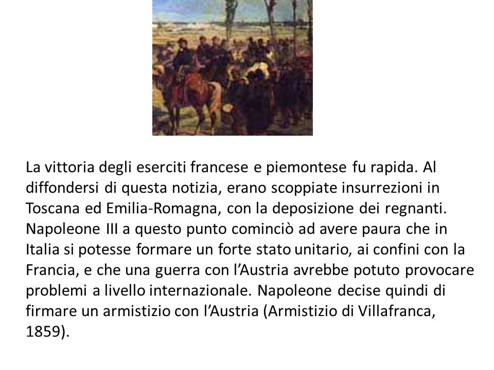 La vittoria degli eserciti francese e piemontese fu rapida. Al diffondersi di questa notizia, erano scoppiate insurrezioni in Toscana ed Emilia-Romagn